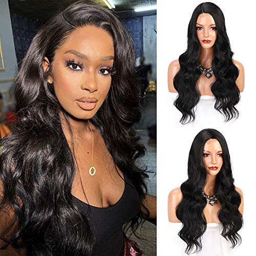 ENTRANCED STYLES Long Wavy Wigs For Black Women, Black Wig Side Part Heat Resistant Synthetic Wig Natural Looking Daily Party Cosplay Use 26 Inch
