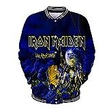 Iron Maiden Pullover Chaqueta de béisbol unisex prendas de vestir exteriores 3D Digital Impreso Personalidad capa uniforme de béisbol de invierno Unisex ( Color : A04 , Size : Height-170cm(Tag M) )