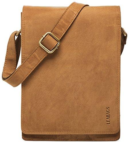 LEABAGS Dover Umhängetasche Schultertasche 10 Zoll Tablets aus echtem Leder im Vintage Look, (LxBxH): ca. 20 x 7 x 26 cm (Braun)