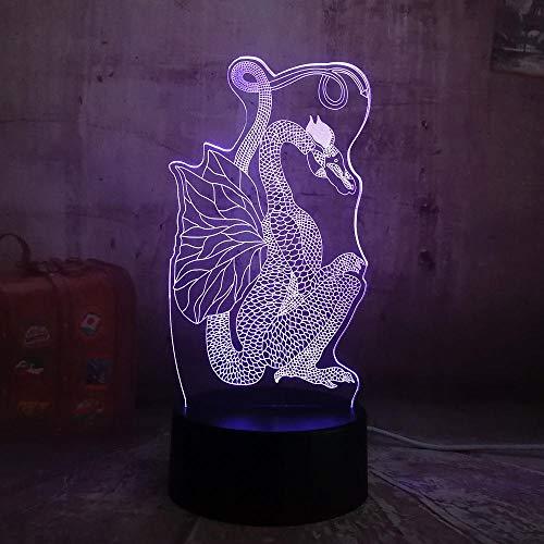 Chinesischen Stil Scherenschnitt Drachen 3D Nachtlicht 7 Farben Ändern Led Tischlampe Weihnachtsgeschenk Alten Drachen Kunst Dekor Lampe Touch-Schalter