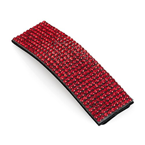 Hair Snap Clip Crystal Rectangle Shape Glitter Bling Sleepies Hair Accessories (Red)