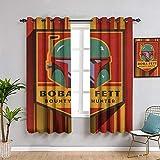 Star Wars Badges Star Wars insignias Boba Fett cortinas de eficiencia energética impermeable para habitaciones de niños de 182 x 163 cm