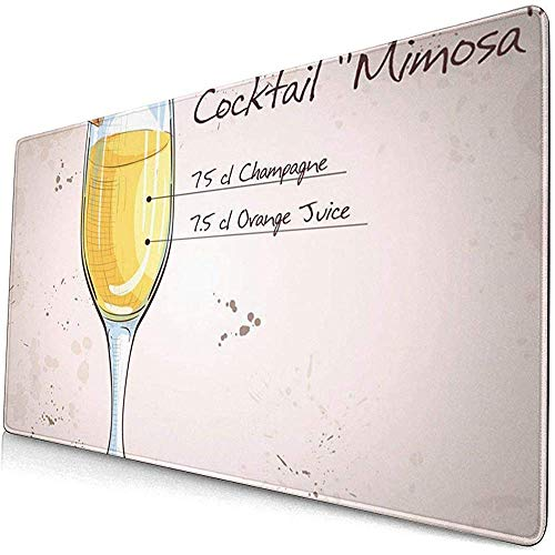 Gaming Extended Mouse Pads mit Rutschfester Gummibasis Gelb Getränk Cocktail Alkohol Mimose Champagner Orangensaft Riegel 30X80 cm