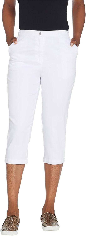 Linea by Louis Dell'Olio Womens Plus Denim Capri 24 White A305686