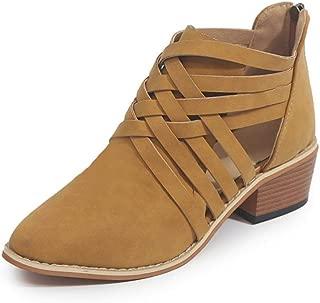 Women's Ankle Boots Slip On Loafers, Faux Suede Cut Side Split Stacked Wood Heel Booties