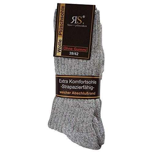 Gesundheitsstrumpf 6 Paar Norweger Socken ohne Gummi Diabetikersocken Wolle Ohne Gummizug Plüschsohle (43-46, Grau)