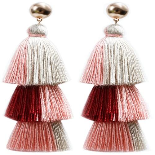 Pendientes bohemios de borla de color hecho a mano colgante estilo étnico pendientes largos joyería en capas borla pendientes, 9cm, Seda,