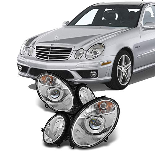 For Mercedes Benz E-Class Halogen Type Projector Headlights Left + Right Side Replacement Pair Set