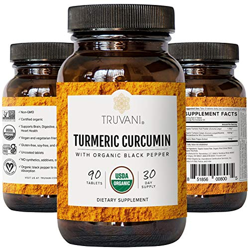 Truvani - Organic Turmeric Curcumin Supplement &Amp; Turmeric Root Powder - With Black Pepper For Improved Absorption | Anti-Inflammatory, Joint Support &Amp; Stress Relief Supplement - 90 Vegan Tablets