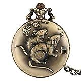 SUZHENA Reloj de Bolsillo Reloj Colgante de diseño de Rata de Zodiaco Chino Retro Cazador Completo Collar de Bronce Antiguo Cadenas de Reloj, Cadena de Collar de 80 cm