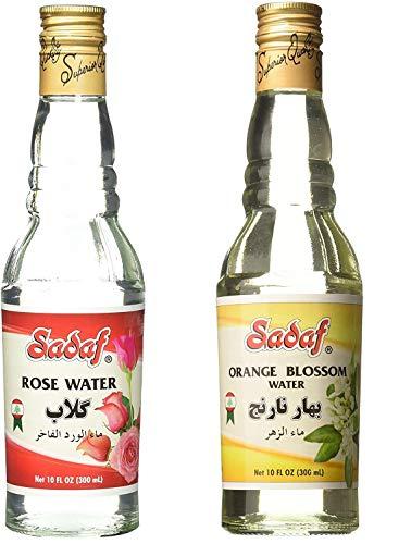 Sadaf Combo Pack - 1) Sadaf Rose Water 10 Fl. Oz., & 2) Sadaf Orange Blossom Water 10 Fl. Oz - Total 2 Bottles