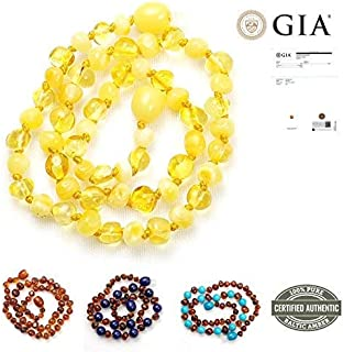 New Blue Rabbit Co Baltic Amber Teething Necklace for Babies   Improved Natural Oral Relief   No More Gels & Tablets   GIA Certified Pure Baltic Amber   Unisex Baby Necklace Lemon/Milk
