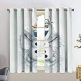 Cortinas opacas de Frozen Olaf para ventana, cortina de puerta, ojales, para dormitorio, 42 x 63 cm