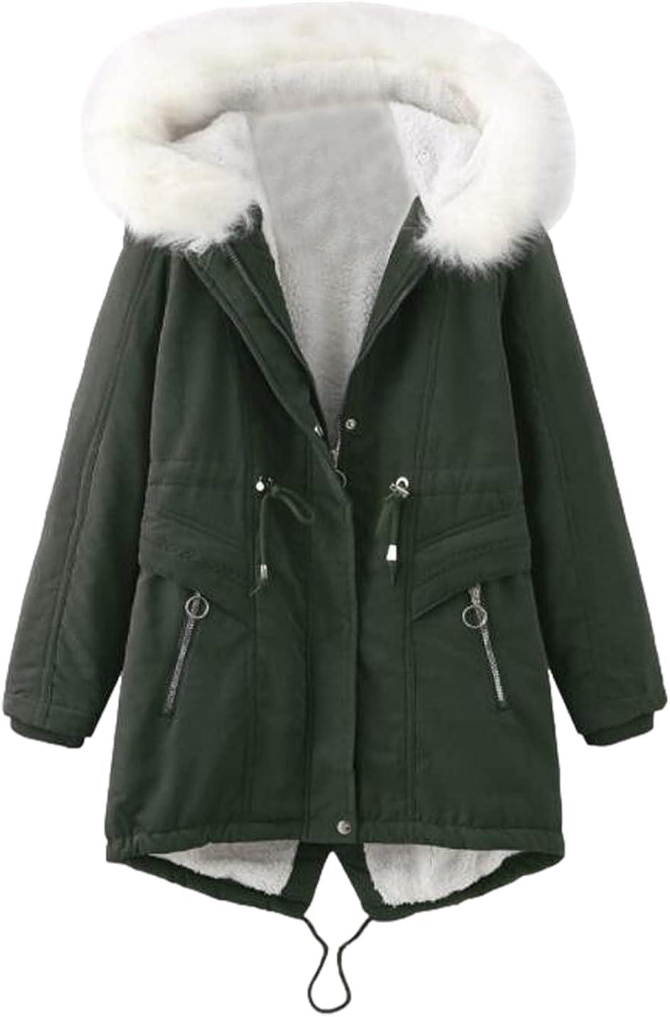 Xishiloft Women's Hooded Warm Winter Parka Jacket Long sleeve fur collar zipper Slim Lightweight Long Military Cargo Coat