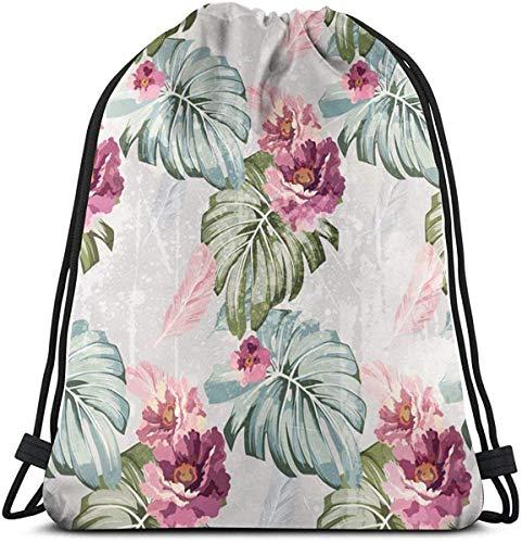 Elsaone Rucksackbeutel mit Kordelzug Aquarell Blumen Rosen Unisex: Leichter Sportstring-Aufbewahrungsbeutel 36 x 43 cm
