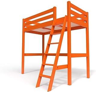 ABC MEUBLES - Lit Mezzanine Sylvia avec échelle Bois - SYLVIAECH - Orange, 90x20