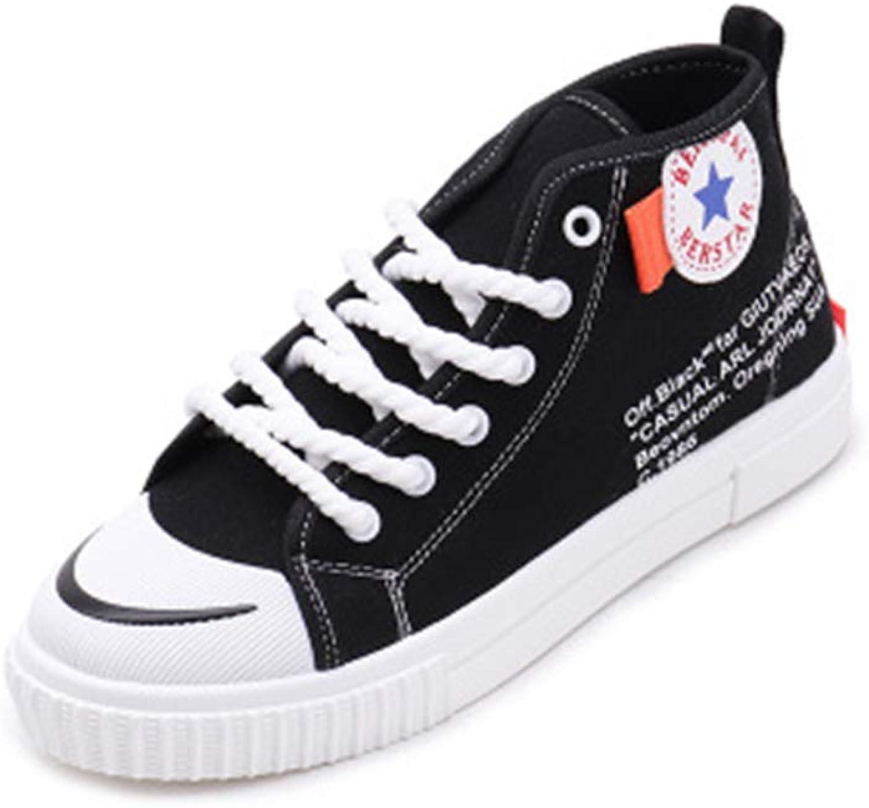 Women's Fashion Hi-Top Lace up Sneaker White Black Walking shoes
