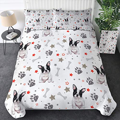 Sleepwish French Bulldog Duvet Cover Cute Puppy Dog Bedding Sets 3 Piece Full Size Animals Patterned Bedspread, Grey Red Black and White
