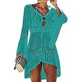 Tacobear Mujer Pareos Playa Traje de Baño Verano Vestido de Playa Sexy Bikini Cover up Camisola de Playa Túnica de Punto (Verde)