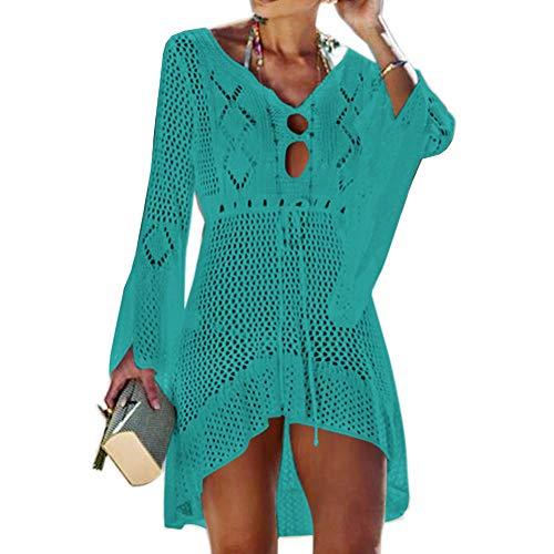 Tacobear Gestrickte Strandkleid Damen Sexy Bikini Cover Up Strandponcho Sommerkleid Sommer Bademode Strand Pareo für Damen (Grün)