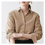 CHYSP Mujer Streetwear blusa mujer camisa rayada de manga larga de invierno Camisas sueltas ocasionales de gran tamaño Ropa de moda (Color : A, Size : S code)