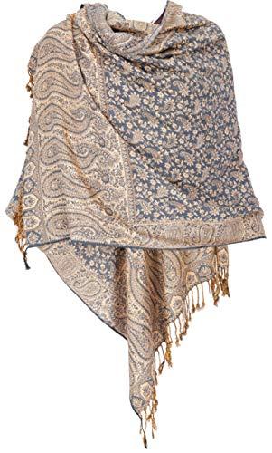 Guru-Shop, Sciarpa Indiana, Stola con Motivo Paislay, Scialle, Motivo 7, Sintetico, Dimensione Indumenti:One Size, 180x70 cm, Sciarpe