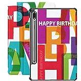 Funda Galaxy Tablet S7 Plus de 12,4 Pulgadas 2020 con Soporte para bolígrafo S, Vector Happy Birthday Broken Text Funda Protectora con Soporte Delgado para Samsung
