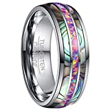 NUNCAD Unisex Wedding Band Tungsten Engagement Ring with Purple Opal and Abalone Shell Polished Finish Size Z+3