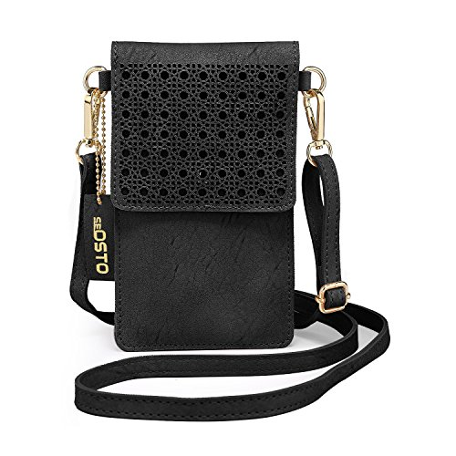 seOSTO Black Cell Phone Purse, Lightweight Small Wallet Purses and Handbags with 2 Shoulder Strap for Women