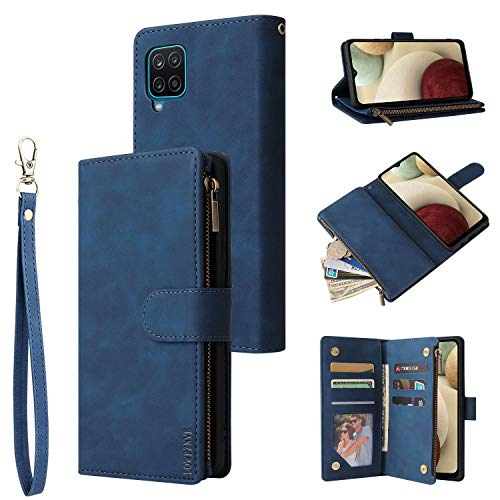 LOWPZNVE Wallet Case for Galaxy A12,Samsung A12 Case,Leather Handbag Zipper Pocket Card Holder Slots Wrist Strap Flip Protective Phone Cover for Samsung Galaxy A12 (Blue)