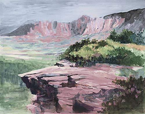 Rahmen-Kunst Keilrahmen-Bild – Jane Slivka: Quiet Colorful View Leinwandbild Berge Landschaft