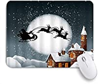 VAMIX マウスパッド 個性的 おしゃれ 柔軟 かわいい ゴム製裏面 ゲーミングマウスパッド PC ノートパソコン オフィス用 デスクマット 滑り止め 耐久性が良い おもしろいパターン (夜サンタクロースそり煙突スライバースノーフレークメリークリスマス冬鹿ホリデーキッズジンジャーブレッドハウス)