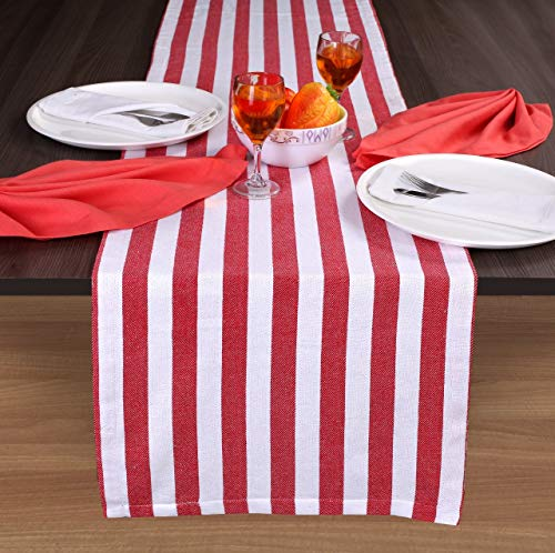 Classic French Stripe 100% Cotton Table Runner 16x108 Tailored with Mitered Corner - Red