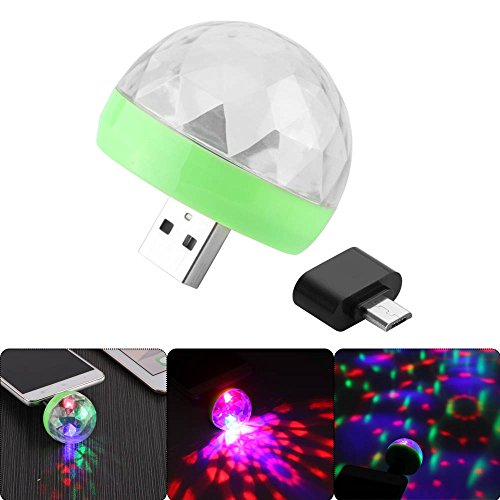 Onever Mini 4-LED Disco bal USB Powered Stadiumlicht RGB B 1 hnendecoration Projector Draaispiegel-disco bal voor feestdagen decoratie met Android aansluiting