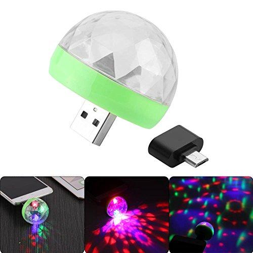 OurLeeme Mini-Discoball mit 4 LED, Discoball Stromversorgung über USB, Bühnenlicht, RGB, Bühnendekoration, Projektor, drehbar Discoball für Party, Feste, Dekoration mit Android-Anschluss