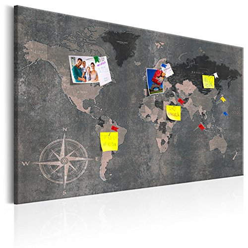 murando - Weltkarte Pinnwand & Vlies Leinwandbild 120x80 cm 1 Teilig Kunstdruck modern Wandbilder XXL Wanddekoration Design Wand Bild - Landkarte Karte Reise Geographie bunt k-A-0057-v-d