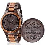 Fodiyaer Custom Engraved Wooden Watch Gifts for Husband Men Boyfriend Him As Personalized Anniversary Christmas Birthday Father Day Graduation Valentine's Wood Gift Idea