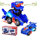 Dinosaur Cars Transforming Toys,Transforming Dinosaur LED Car with Light Sound Kids Toy,Dinosaur Cars Combined Into One,Automatic Transformation,2-8 Year Old Boys Girls Toddlers Kids Gift (Blue)