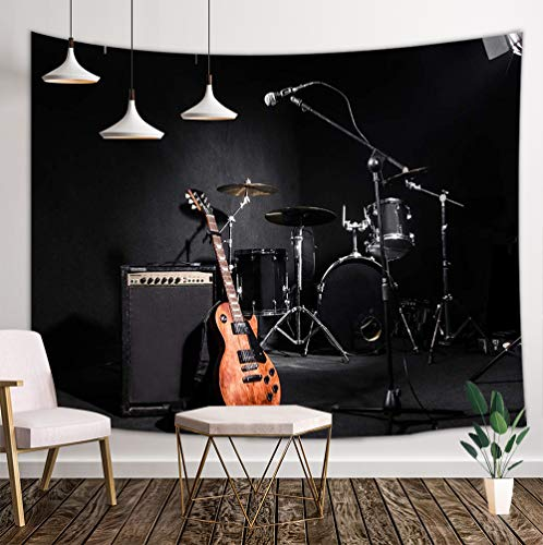 NYMB Music Tapestry Wall Hanging, Musical Instruments Guitar with Drum in Black Wall Tapestry Art for Home Decorations College Dorm Decor Living Room Bedroom Bedspread, 80X60in