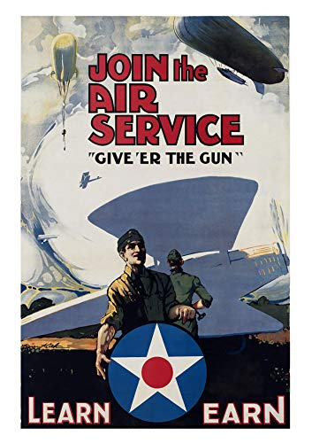 UpCrafts Design WW1 Propaganda Poster - WWI US American Air Service Recruiting Recruitment Prints - Military History Memorabilia Decor - Pilot Aviator (11.7x16.5 inches (A3 Size), Unframed Prints)