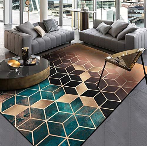 WmmoY-carpet Dunkelgrüner Goldschwarz-Steigungsdiamantgitterschlafzimmertürwohnzimmerküchen-Bodenmattenteppich-Goldschwarz_140 * 200 cm