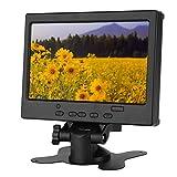 Goshyda Pantalla Full HD portátil de 7 '', Monitor multifunción 1080P con retroiluminación LED y Soporte y Tres métodos de Entrada(Enchufe de la UE)