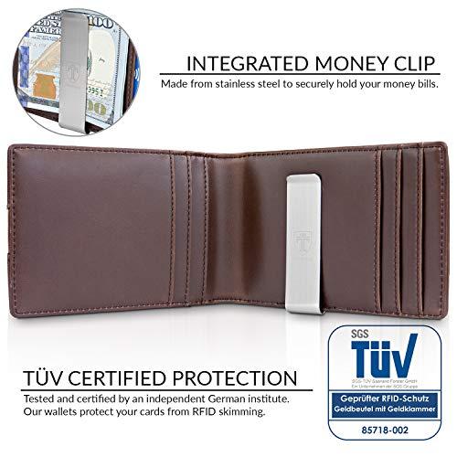 """TRAVANDO Slim Wallet with Money Clip """"RIO"""" RFID Blocking Wallet   Credit Card Holder   Travel Wallet   Minimalist Mini Wallet Bifold for Men with Gift Box (Dark Brown)"""