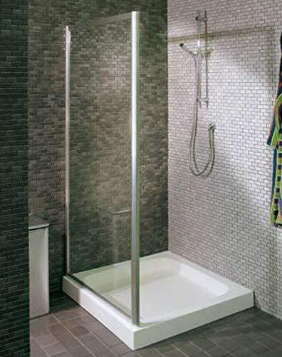 Duschkabine Duschwand ED_5, Glas Transparent, Aluminiumprofile weiß (Maße 72,5/76,5x187)
