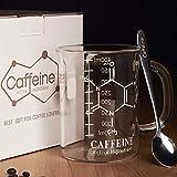 Caffeine Beaker Mug with Metal Spoon - Chemistry Mug - Borosilicate Glass Coffee Mugs with Handle and Measuring for Coffee/Latte/Tea - Caffeine Molecule Cup - Science Coffee Mug