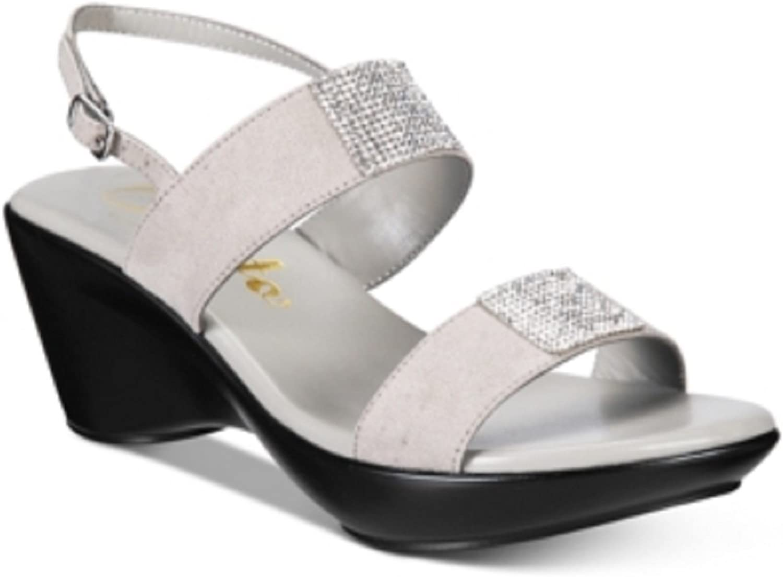 Callisto Womens Minaa Embellished Wedge Sandal Grey Size 11 M US