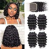 Brazilian Deep Wave 4 Bundles with Closure,Upgrade 8A+ 100% Unprocessed Virgin Human Hair,Wave Short Bob Curly Bundles with Lace Closure Natural Color Bundles-with-Closure(10 10 10 10 with 8)