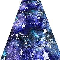 廊下の敷物のための長いランナーの敷物のための敷物の廊下の廊下カーペット、子供の寝室のベッドサイドのための紫色の抽象的な星空カーペット、カスタマイズ可能 (Color : A, Size : 120x600cm)