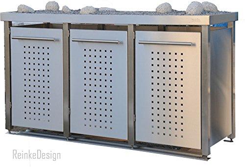 Mülltonnenbox aus Edelstahl mit Pflanzenwanne 2x120L und 1x240L