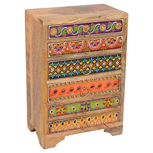 Casa Moro Orientalische Mini-Kommode handbemalte Holz-Kästchen Prajna mit 6 bunten Schubladen 20x12x29 cm (B/T/H) aus Echtholz | Die Originelle Geschenk-Idee Dame Freundin Frau Muttertag | RK11-40